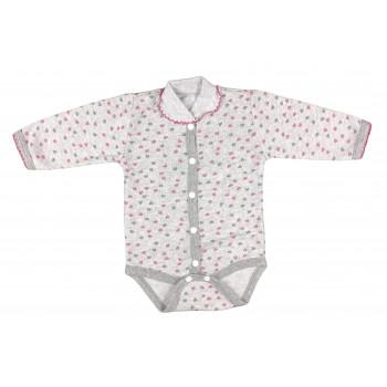 Боди Сердечка Серо-розовый Начес 56 62 68 размеры для девочек