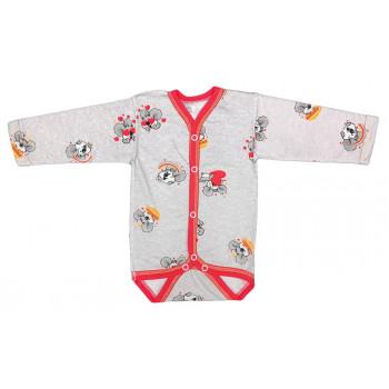 Теплый серый боди с длинным рукавом для детей до года
