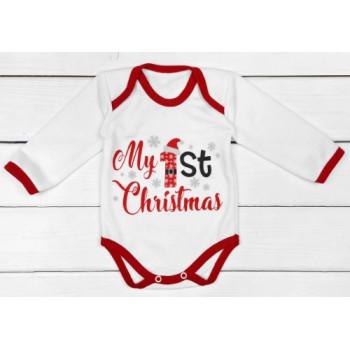Теплый из футера новогодний боди My 1st Christmas для малышей. Размеры 62 68 74 80