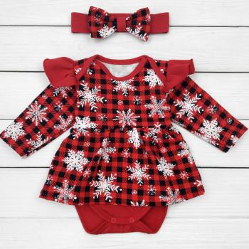 Новогодние теплые боди с повязкой на девочку 3-6-9-12-18 месяцев 68 74 80 86 размеры красные Снежинка