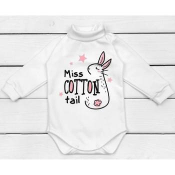 Теплый молочный боди Miss Cotton, ткань футер, размеры 68 74 80 86