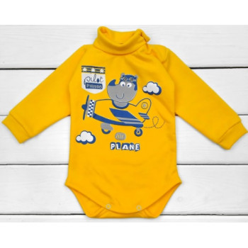 Теплый желтый боди для детей, ткани футер, размеры 74 80 86