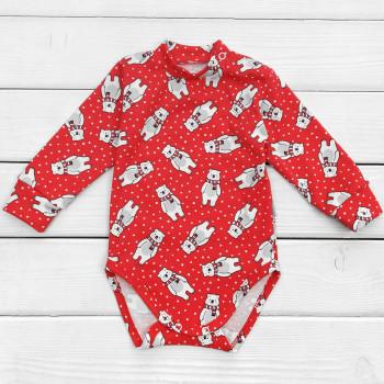 Новогодний боди с белым мишкой на красном фоне Интерлок 80 размер для детей 9-12  месяцев