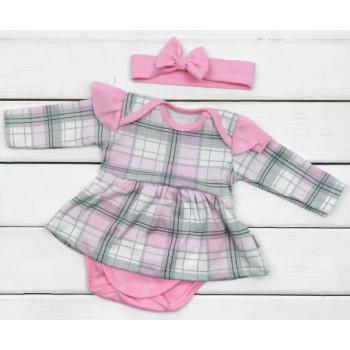 Боди платье детское с повязкой на девочку от 1 до 12 месяцев