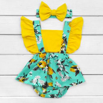 Детское боди-платье с повязкой Лимон для девочек