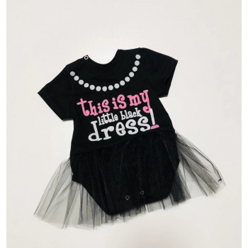 Черное платье боди с фатиновой юбкой на девочку
