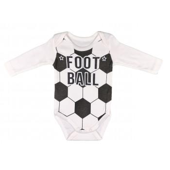 Молочный футбольный боди с длинными рукавами (интерлок)