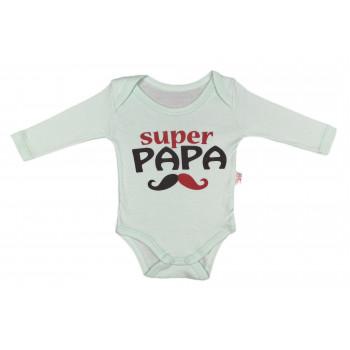 Детский мятный боди с надписью Супер Папа 80 размер