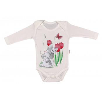 Детские молочные бодики 74 80 86 размеры Зайка с тюльпанами