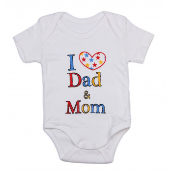 Боди футболка I love Dad ₴ Mom Молочный Интерлок для малышей