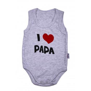 "Боди майка Серый для малышей ""I love Papa"""