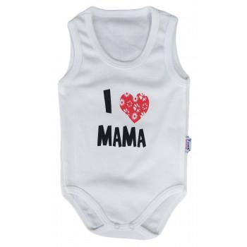 """Детское боди майка Молочный """"I love MAMA"""""""