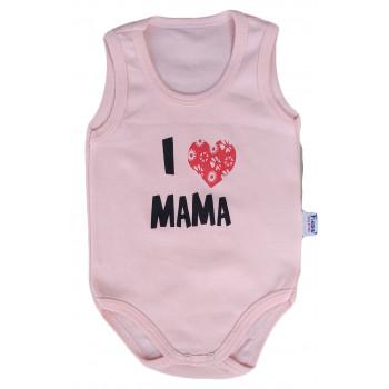 """Детское боди майка Розовый """"I love MAMA"""" для девочек"""
