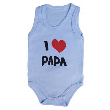 "Летние боди майки для мальчиков Интерлок ""I Love Papa"""