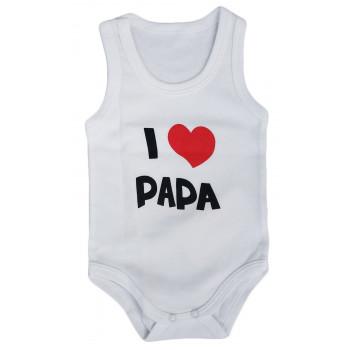 """Летние боди майки для малышей Интерлок Молочный """"I Love Papa"""""""