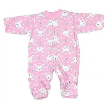 Теплый (ткань начес) человечек для новорожденной девочке Зайка Размеры 50 62 68 74