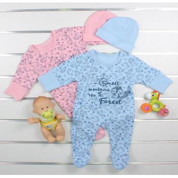 Человечек с шапочкой для новорожденных Ези (ткань интерлок)