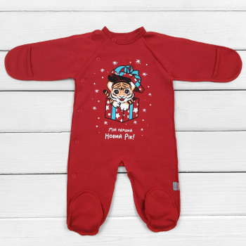 "Новогодний человечек Тигр Красный Футер ""Мій перший Новий Рік!"" для новорожденных"