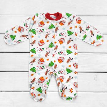 Новогодний теплый человечек с наружными швами для новорожденных