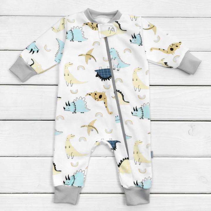 Слип теплый Дино Белый 68 размеры на ребенка 3-4-5-6 месяцев