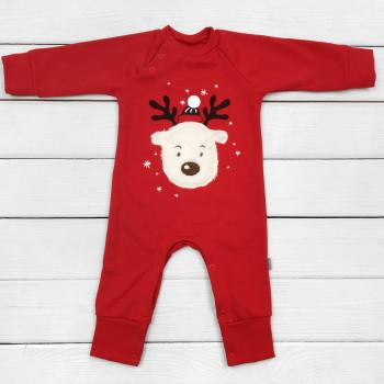 Новогодний человечек Олененок теплый (футер) 68  86 размеры для малышей 3-6-18 месяцев, красный, осень-весна-зима