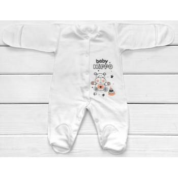 Теплый из футера человечек 56 62 68 74 размеров для малышей Baby Hippo