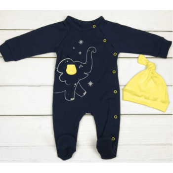 Теплый темно-синий человечек с желтой шапочкой, футер, размеры 62 68 74