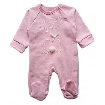 Теплый розовый человечек 62 размеры для девочек Зайка