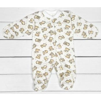 Теплый из футера человечек 56 62 68 размеров для малышей Мишка