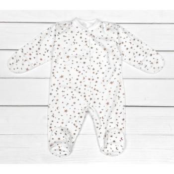 Теплый молочный человечек 56 62 размеры из футера для новорожденных Звездочка