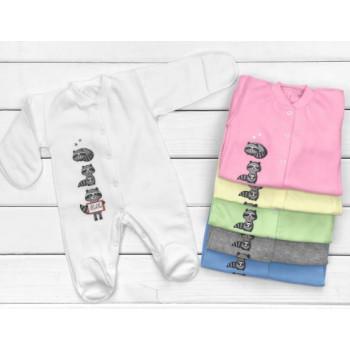 Тепленькие из ткани футер человечки 56 размера для новорожденных Енотики