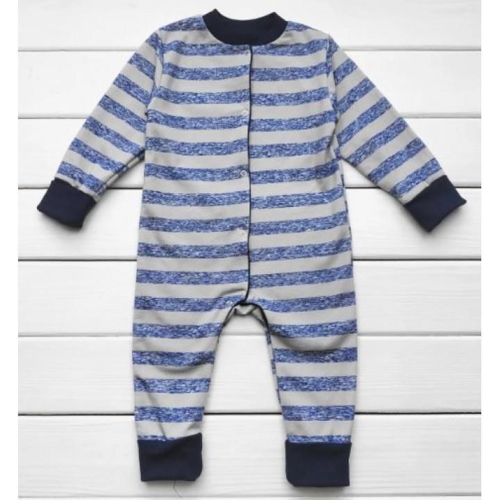 Теплый из футера полосатая слип пижама для мальчиков