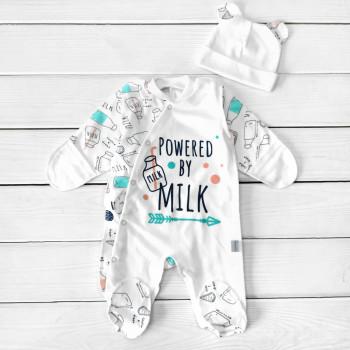 Человечек с шапочкой Milk Интерлок 56 62 размер для новорожденных