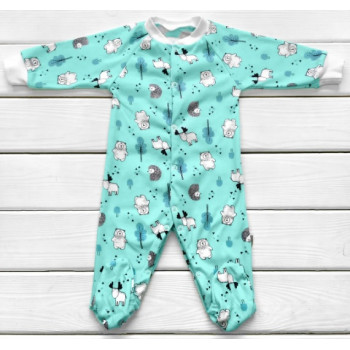 Человечек 68 размера Ежик Мятный Интерлок для младенцев