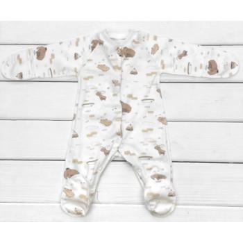 Человечек для младенцев Мамонтенок пошит из тонкой ткани интерлок. Размеры 68