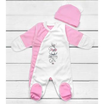 Человечек с шапочкой Интерлок для новорожденных девочек