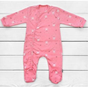 Человечек Зайки Интерлок 68 размеры Розовый для девочек