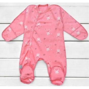 Человечек Интерлок Розовый для новорожденной девочке