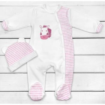 Человечек с шапочкой Молочно-розовый Интерлок Размеры 68 74 для девочек