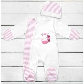 Человечек с наружными швами и шапочкой Интерлок 56 размеры для новорожденных девочек