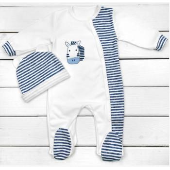Человечек с шапочкой Молочно-синий Интерлок Размеры 68 74 для малышей