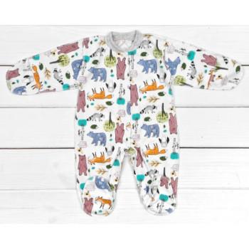 Человечек из тонкой ткани кулир 50 56 62 размеры для малышей Лесные Зверята