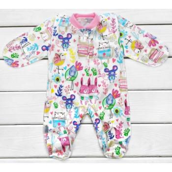 Человечек с наружными швами Кулир 56 размеры для новорожденных девочек