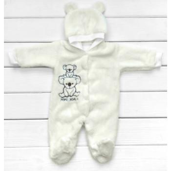 Теплый (велсофт) молочный комбинезон с капюшоном для новорожденных 56 62 68 размеры Коала