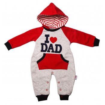Комбинезон I love DAD Красно-серый 62  размер Трехнитка для малышей 3 месяца
