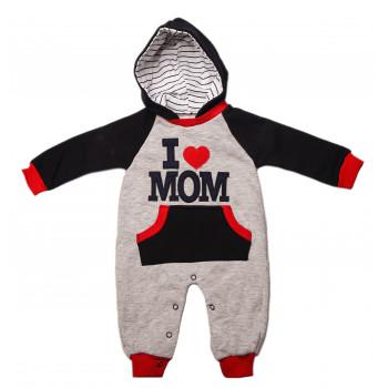 Комбинезон I love MOM Серо-синий 62 74 80 размеры Трехнитка для мальчиков 3,  9, 12 месяцев