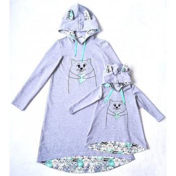 """Фемили лук с индивидуальной вышивкой """"Котики"""". Размер взрослого платья М, детского 98 Цена казана за 2 единицы."""