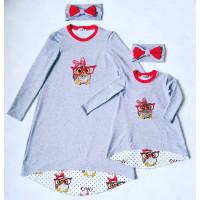 """Комплект с вышивкой для мамы и дочки """"Совушки"""" в стиле family look. Размер взрослый - М, детский - 104. Цена за 2 платья с повязками."""