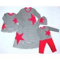 """Набор Family look """"Красная звездочка"""" Размер для мамы XS, S для дочки 86, для сына 92"""