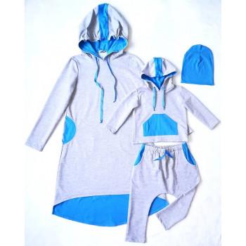 """Комплет одежды family look """"Спорт""""для мамы и сына на 4 годика. Размер: взрослый L, детский 104. Цена за 2 комплекта."""